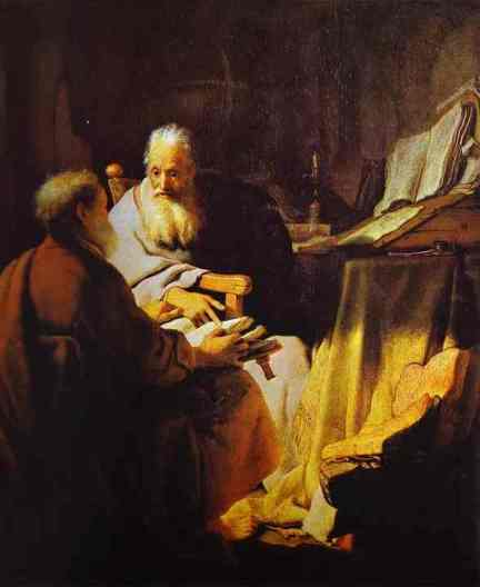 """Two Scholars Disputing"" (Peter and Paul?) by Rembrandt"